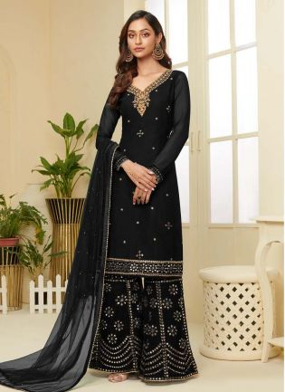 Fascinating Black Color Georgette Base Palazzo Suit