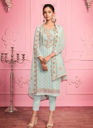 Glamorous Misty Teal Color With Zari Embroidered Work Salwar Kameez