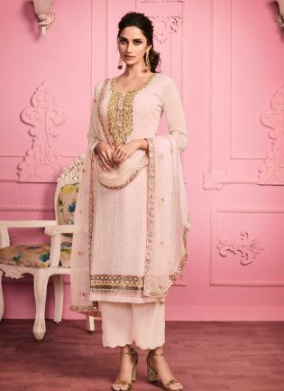 Cream Color With Zari Embroidery Work Salwar Suit