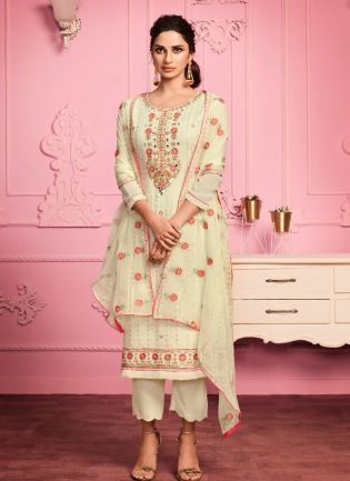 Fantastic Yellow Color Georgette Base With Thread Work Pant Suit
