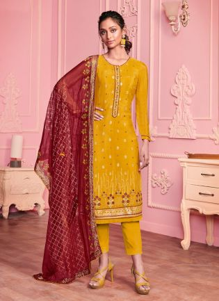 Magnificent Mustard Color Georgette Base Heavy Work Wedding Wear Pant Style Suit