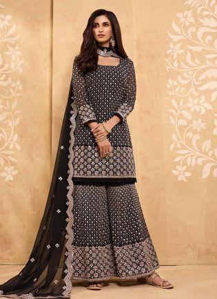 Black Color Mirror And Zari Work Georgette Fabric Sharara Salwar Kameez