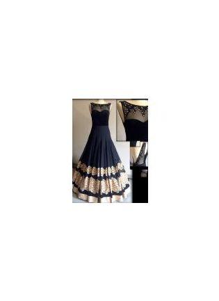 Black Resham Handwork Georgette Designer Party Wear Gown