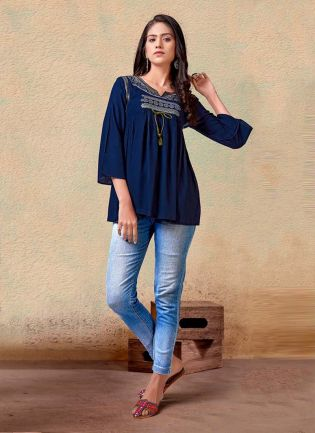 Navy Blue Color Cotton Fabric Round With V- neckline Casual Kurti