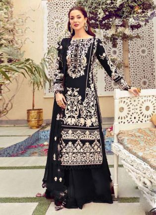 Engrossing Black Color Cotton Fabric Resham Work Palazzo Salwar Suit
