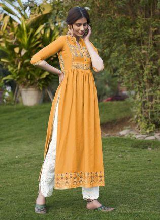 Decent Look Casual Wear yellow Color Art Silk Base Pant Style Salwar Suit