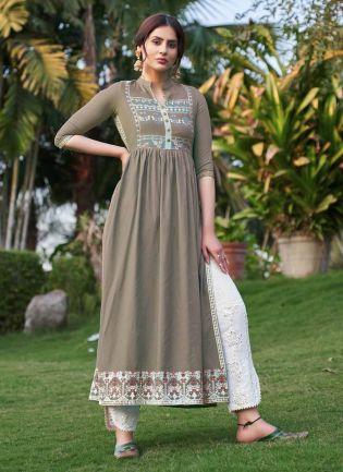 Casual Wear Pastel Brown Color Art Silk Base Pant Style Salwar Suit