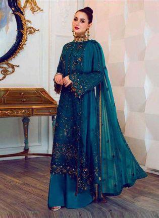 Fabulous Blue Color Georgette Fabric Sequins And Resham Work Pakistani Suit