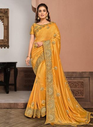 Aesthetic Silk Fabric Yellow Color Gota And Resham Work Designer Saree