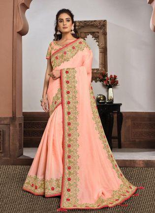 Stunning Pink Color Silk Fabric Stone And Resham Work Saree