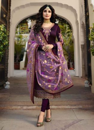 Georgette Fabric Violet Color Zari And Stone Work Pant Style Salwar Suit