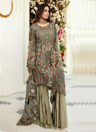 Pakistani Look Olive Green Color Soft Net Base Heavy Work Palazzo Suit
