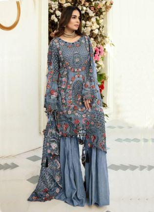 Trendy Pastel Blue Color Soft Net Base Pakistani Palazzo Suit