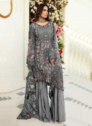 Admirable Grey Color Soft Net Base With Heavy Work Pakistani Palazzo Suit
