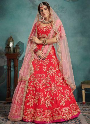 Unbeatable Red Art Silk Designer Bridal Sequin Work Lehenga Choli