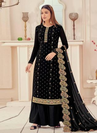 Black Color Georgette Fabric Zari And Sequins Work Palazzo Salwar Suit
