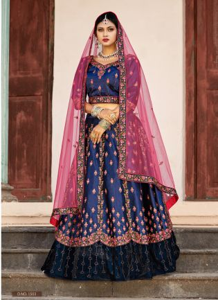 Stunning Navy Blue Flared Bridal Wear Lehenga Choli
