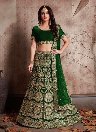 Green Heavily Embroidered Velvet Base Lehenga Choli