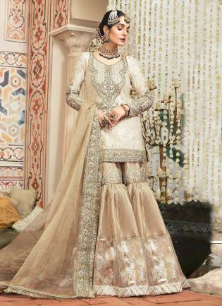 Beige Color Satin Fabric Zari And Dori Work Sharara Salwar Kameez WIth Dupatta