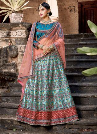 Imperial Look Sky Blue Ethnic Wear Lehenga Choli For Bridal