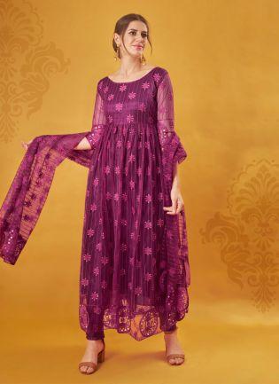 Wedding Wear Designer Magenta Color Net Base Salwar Kameez Suit