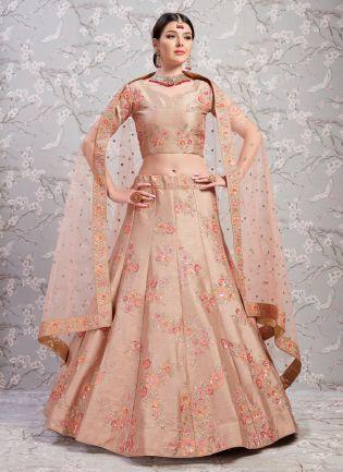 Phenomenal Light Brown Silk Base Sangeet Trendy Lehenga Choli
