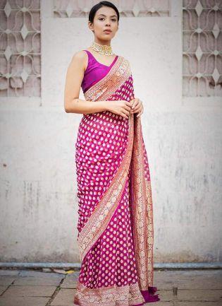 Dramatic Bright Pink Jacquard Silk Base Foil Printed Saree