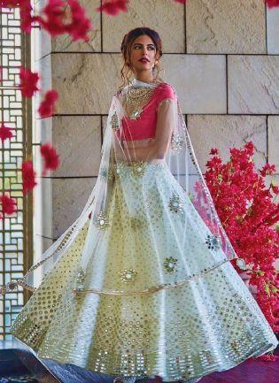 Trendy White Color Georgette Base With Real mirror Work Wedding Wear Lehenga Choli