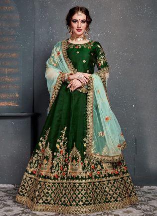 Elegant Green Color With Taffeta Silk Base Lehenga Choli
