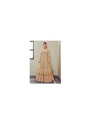 Charming Beige Color Georgette Fabric Resham work Designer Gown