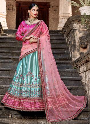 Stunning Sky Blue Colored Satin Base Bridal Wear Lehenga Choli