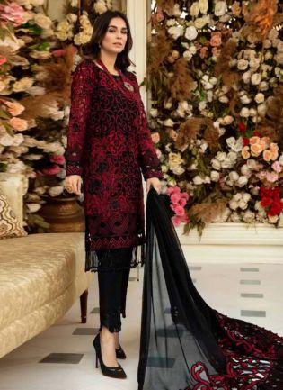 Black And Maroon Color Georgette Base Dori Work Pakistani Pant Style Suit
