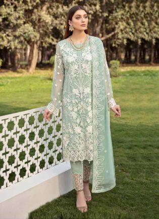 Georgette Base Pistachio Green Color Stone And Resham Work Pakistani Suit
