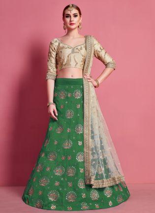 Fantastic Green Heavily Embroidered Silk Base Lehenga Choli