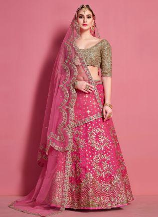 Stylish Pink Heavily Embroidered Art Silk Base Lehenga Choli