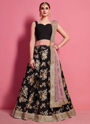 Fantastic Black Heavily Embellished Crepe Base Wedding Wears Lehenga Choli