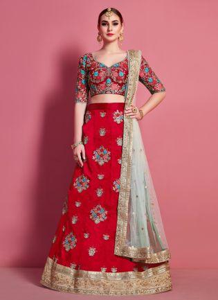 Red Floral Motif Art Silk Base Wedding Wears Lehenga Choli