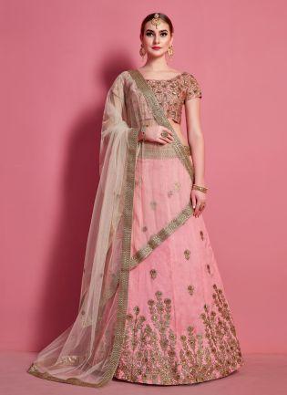 Baby Pink Elegance Lehenga Choli With Beige Net Dupatta