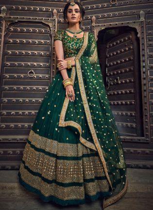 Green Soft Net Zari Work Sangeet Flared Lehenga Choli
