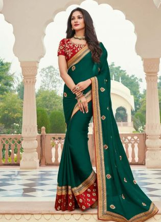 Silk Base Silk Weave Dark Green Color Half And Half Saree