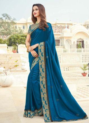 Blue Color Dashing Look Silk Fabric Silk Weave Saree