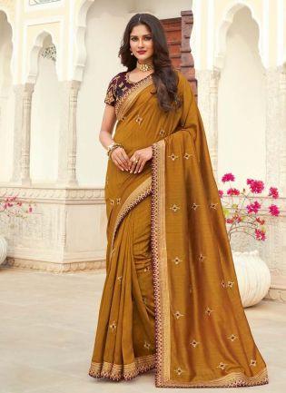Amazing Silk Base Ochre Color Dori Work Half And Half Saree