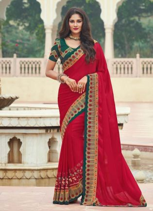 Artistic Silk Base Red Color Short Sleeves Blouse Half And Half Saree