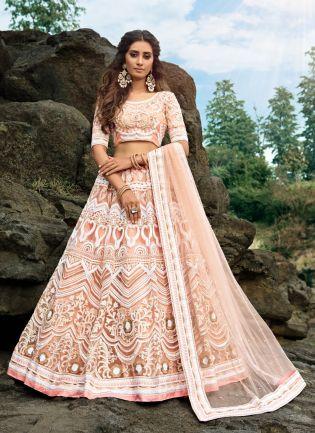 Fabulous Peach Pink Soft Net Base Designer Ethnic Lehenga Choli
