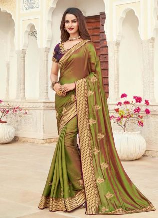 Beautiful Look Olive Green Color Silk Base Silk Weave Occasion Wear Saree