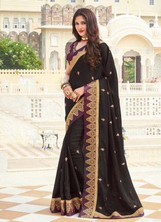 Charming Black Color Silk Base Silk Weave Half And Half Saree