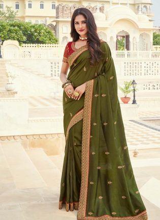 Dazzling Silk Base Silk Weave Olive Green Color Saree