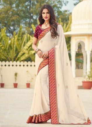 Georgette Fabric Cream Color Silk Weave Half And Half Saree