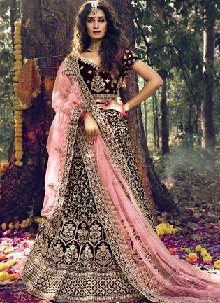 Magnificent Maroon Velvet A-line Lehenga Choli Set