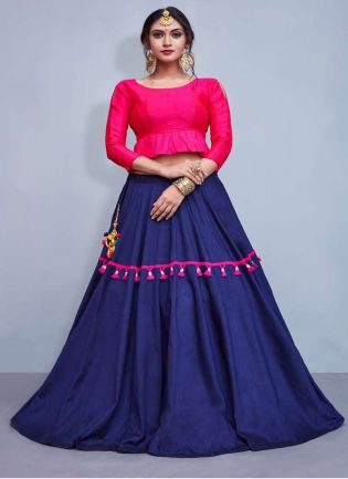 Elegance Pink Crop Top With Tassels Decorated Navy Blue Skirt